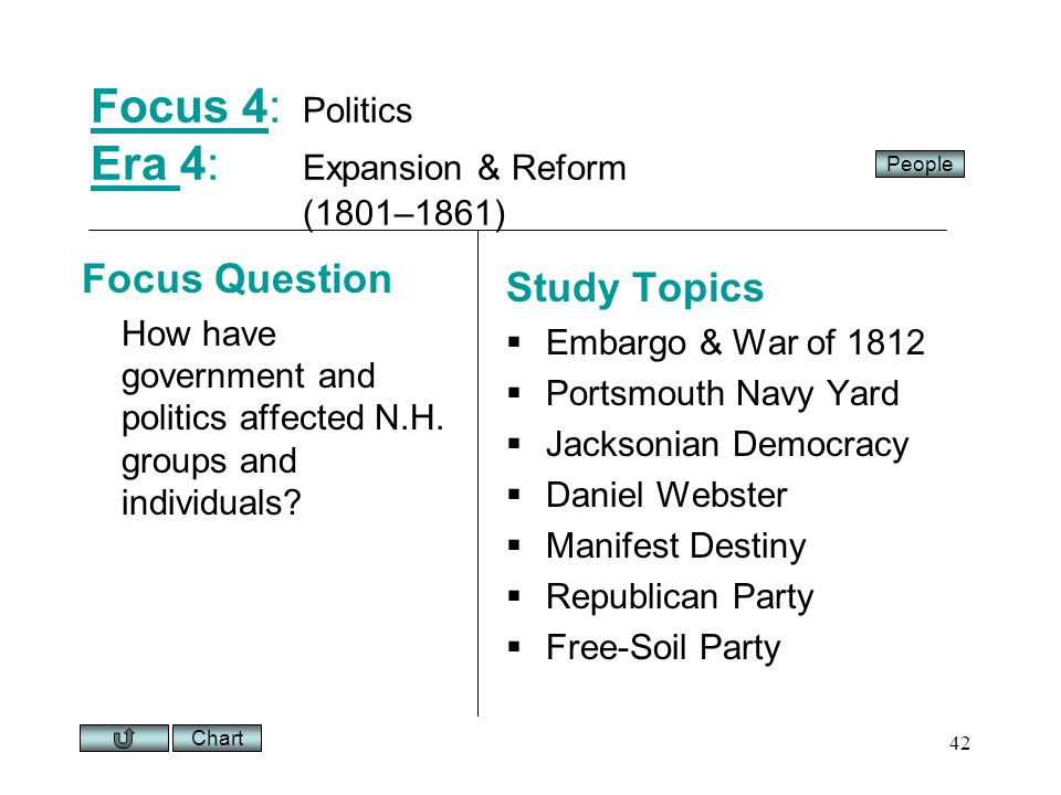 Chart 42 Focus 4Focus 4: Politics Era 4: Expansion & Reform (1801–1861) Era Focus Question How have government and politics affected N.H.