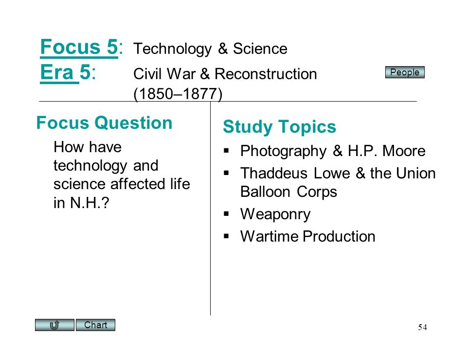 Chart 54 Focus 5Focus 5: Technology & Science Era 5: Civil War & Reconstruction (1850–1877) Era Focus Question How have technology and science affected life in N.H..