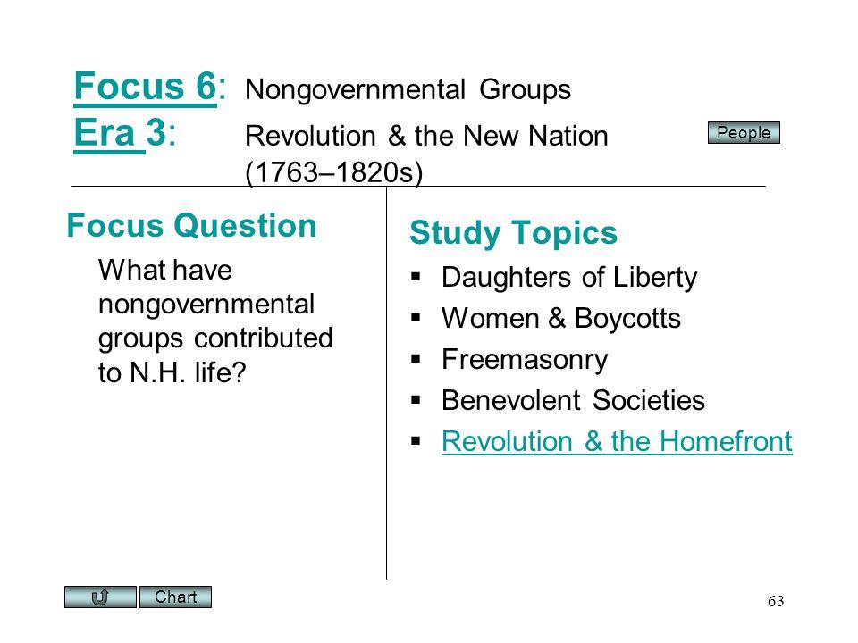 Chart 63 Focus 6Focus 6: Nongovernmental Groups Era 3: Revolution & the New Nation (1763–1820s) Era Focus Question What have nongovernmental groups contributed to N.H.