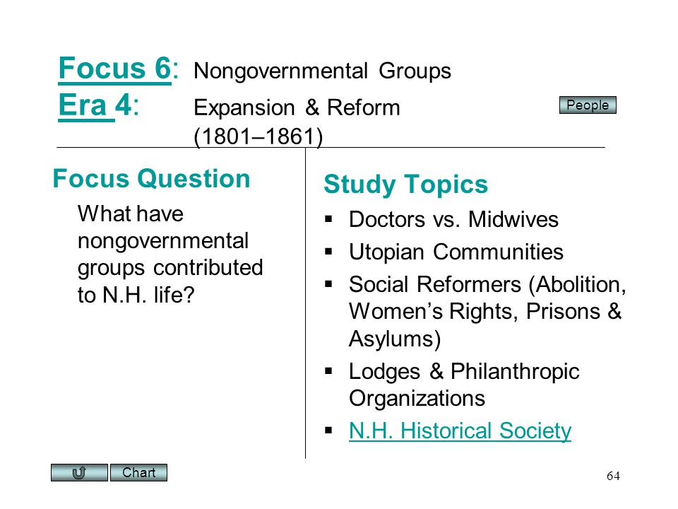 Chart 64 Focus 6Focus 6: Nongovernmental Groups Era 4: Expansion & Reform (1801–1861) Era Focus Question What have nongovernmental groups contributed to N.H.