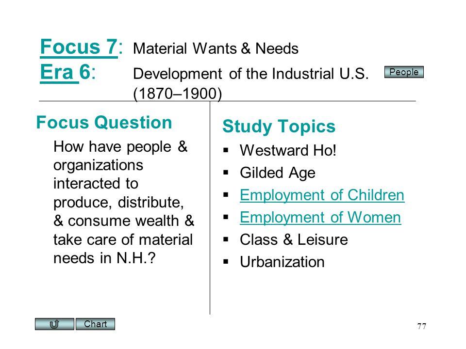 Chart 77 Focus 7Focus 7: Material Wants & Needs Era 6: Development of the Industrial U.S.