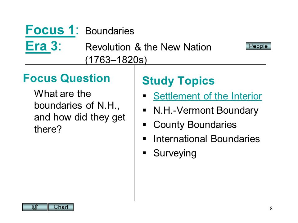 Chart 8 Focus 1Focus 1: Boundaries Era 3: Revolution & the New Nation (1763–1820s) Era Focus Question What are the boundaries of N.H., and how did they get there.