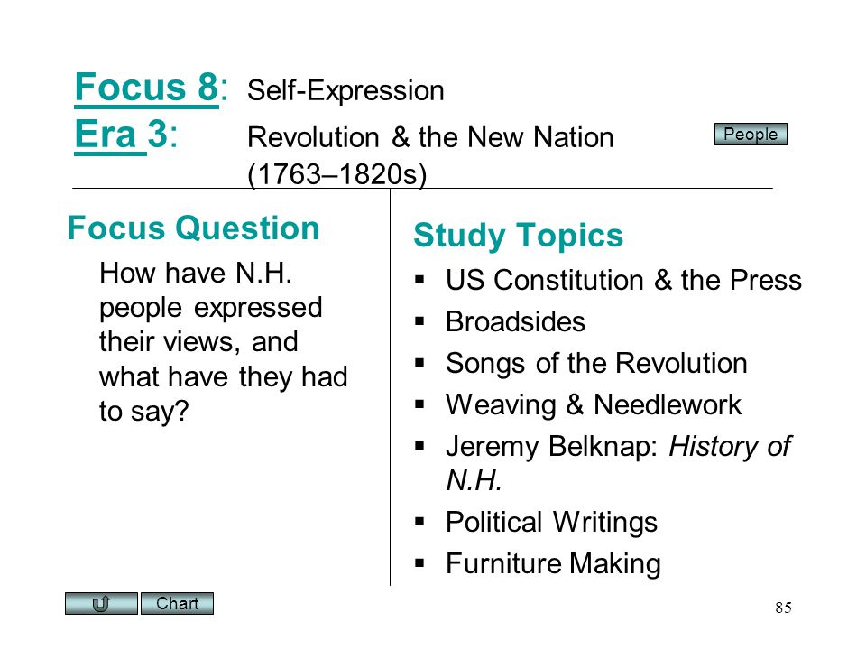Chart 85 Focus 8Focus 8: Self-Expression Era 3: Revolution & the New Nation (1763–1820s) Era Focus Question How have N.H.