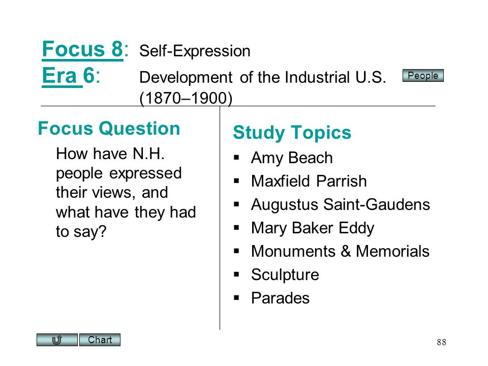 Chart 88 Focus 8Focus 8: Self-Expression Era 6: Development of the Industrial U.S.