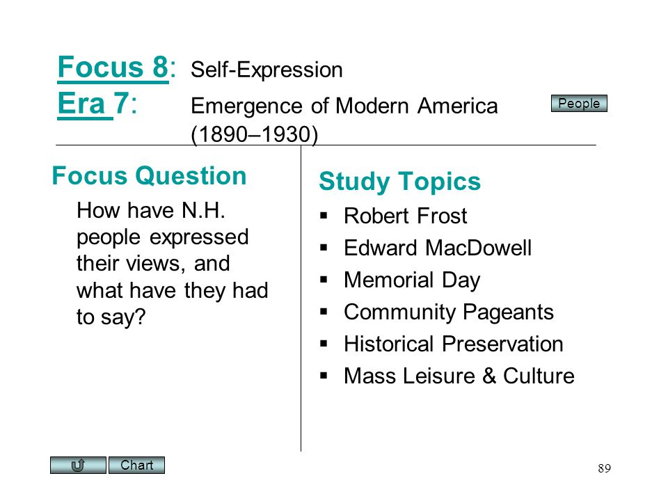 Chart 89 Focus 8Focus 8: Self-Expression Era 7: Emergence of Modern America (1890–1930) Era Focus Question How have N.H.