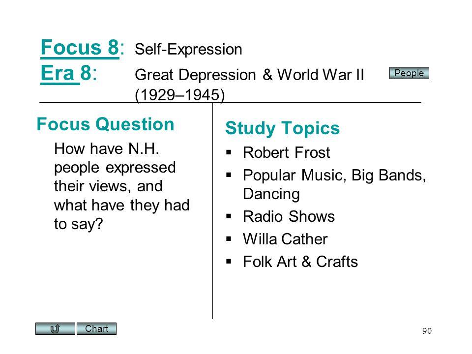 Chart 90 Focus 8Focus 8: Self-Expression Era 8: Great Depression & World War II (1929–1945) Era Focus Question How have N.H.