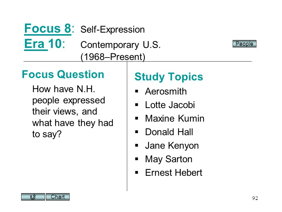 Chart 92 Focus 8Focus 8: Self-Expression Era 10: Contemporary U.S.