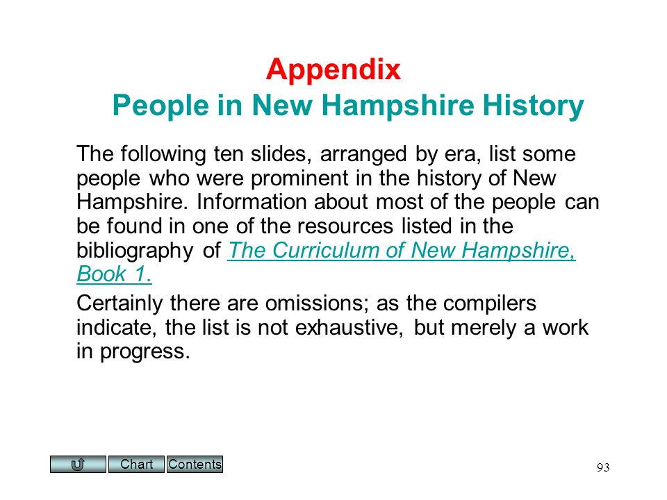 Chart 93 Appendix People in New Hampshire History The following ten slides, arranged by era, list some people who were prominent in the history of New Hampshire.