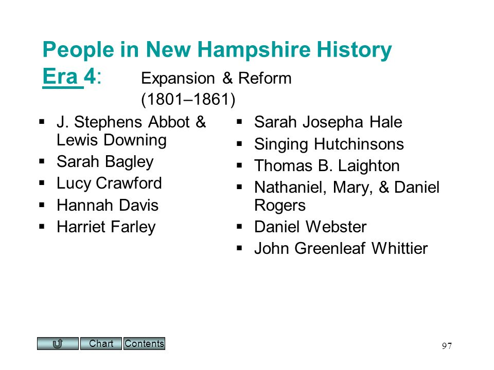Chart 97 People in New Hampshire History Era 4: Expansion & Reform (1801–1861) Era J.