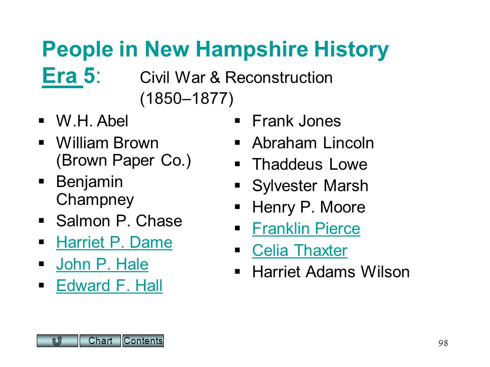 Chart 98 People in New Hampshire History Era 5: Civil War & Reconstruction (1850–1877) Era W.H.