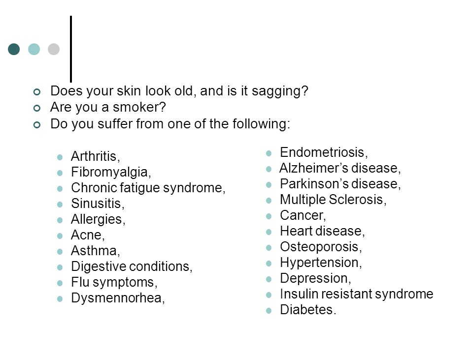 Does your skin look old, and is it sagging? Are you a smoker? Do you suffer from one of the following: Arthritis, Fibromyalgia, Chronic fatigue syndro
