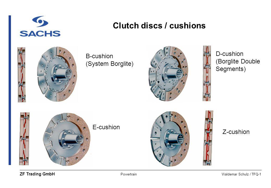 PowertrainWaldemar Schulz / TFQ-1 ZF Trading GmbH B-cushion (System Borglite) D-cushion (Borglite Double Segments) Z-cushion E-cushion Clutch discs /