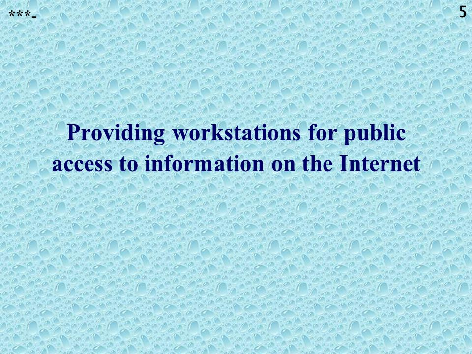 5 Providing workstations for public access to information on the Internet ***-
