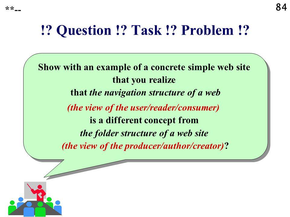 84 !. Question !. Task !. Problem !.