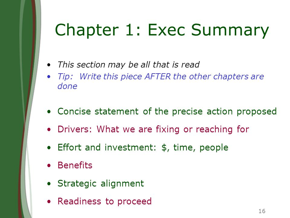 16 Chapter 1: Exec Summary This section may be all that is read Tip: Write this piece AFTER the other chapters are done Concise statement of the preci