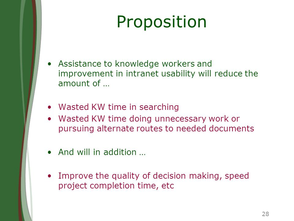 28 Proposition Assistance to knowledge workers and improvement in intranet usability will reduce the amount of … Wasted KW time in searching Wasted KW time doing unnecessary work or pursuing alternate routes to needed documents And will in addition … Improve the quality of decision making, speed project completion time, etc