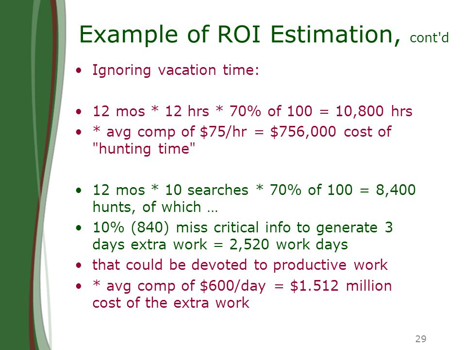 29 Example of ROI Estimation, cont d Ignoring vacation time: 12 mos * 12 hrs * 70% of 100 = 10,800 hrs * avg comp of $75/hr = $756,000 cost of hunting time 12 mos * 10 searches * 70% of 100 = 8,400 hunts, of which … 10% (840) miss critical info to generate 3 days extra work = 2,520 work days that could be devoted to productive work * avg comp of $600/day = $1.512 million cost of the extra work