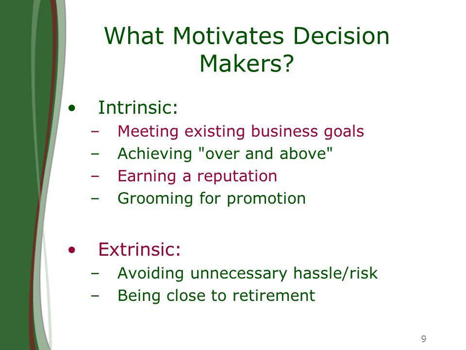 9 What Motivates Decision Makers.