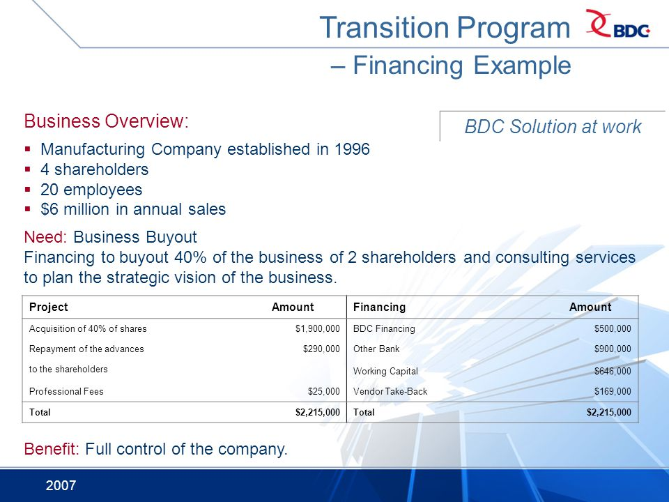 2007 Transition Program – Financing Example BDC Solution at work ProjectAmountFinancingAmount Acquisition of 40% of shares$1,900,000BDC Financing$500,000 Repayment of the advances$290,000Other Bank$900,000 to the shareholders Working Capital$646,000 Professional Fees$25,000Vendor Take-Back$169,000 Total$2,215,000Total$2,215,000 Business Overview: Manufacturing Company established in 1996 4 shareholders 20 employees $6 million in annual sales Need: Business Buyout Financing to buyout 40% of the business of 2 shareholders and consulting services to plan the strategic vision of the business.
