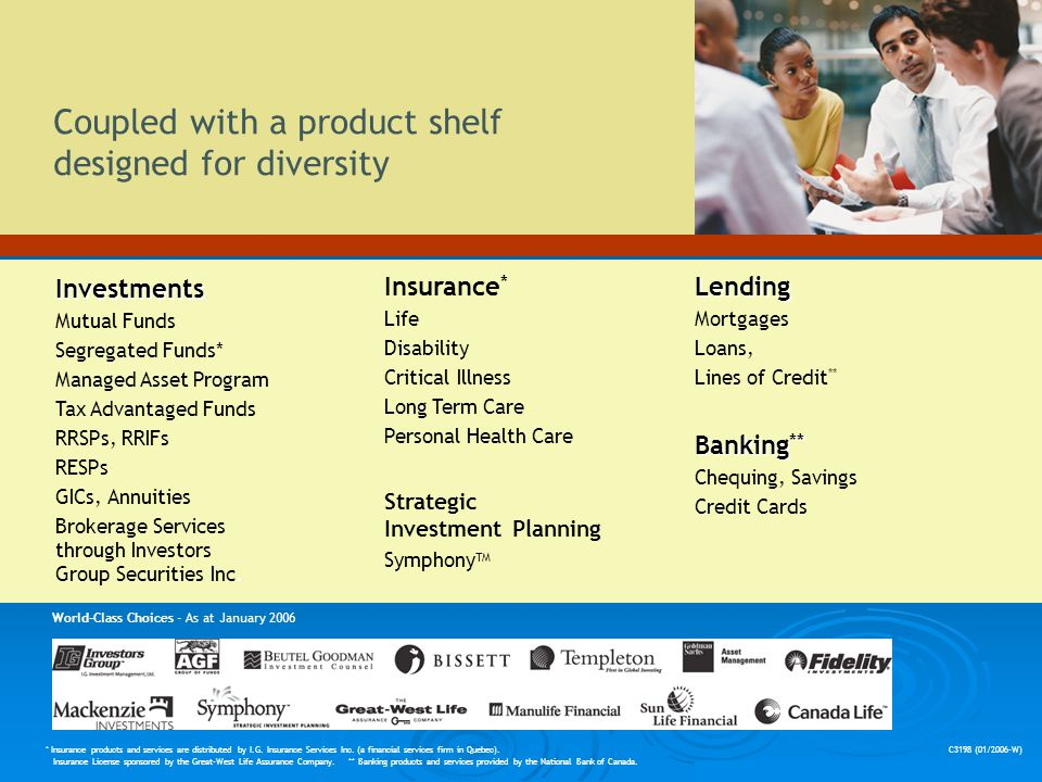 Coupled with a product shelf designed for diversity Investments Mutual Funds Segregated Funds* Managed Asset Program Tax Advantaged Funds RRSPs, RRIFs RESPs GICs, Annuities Brokerage Services through Investors Group Securities Inc.