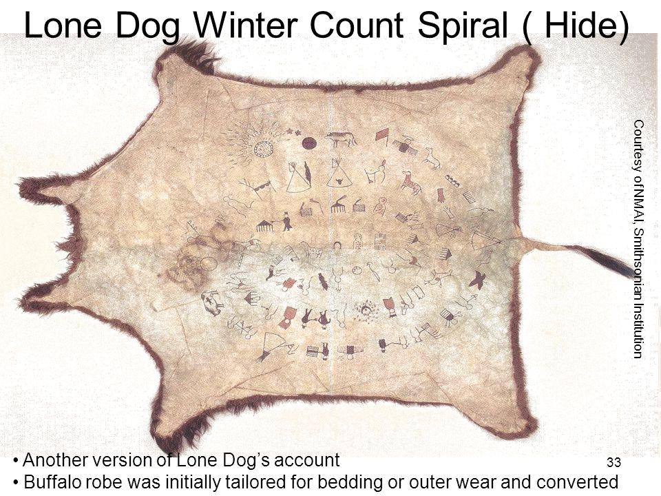 33 Another version of Lone Dogs account Buffalo robe was initially tailored for bedding or outer wear and converted Courtesy of NMAI, Smithsonian Inst