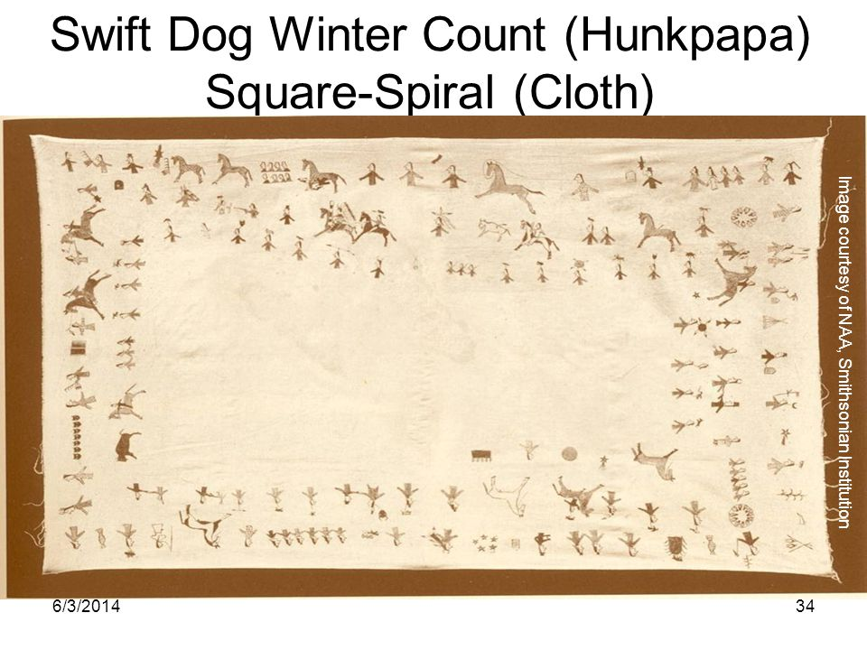 6/3/201434 Swift Dog Winter Count (Hunkpapa) Square-Spiral (Cloth) Image courtesy of NAA, Smithsonian Institution