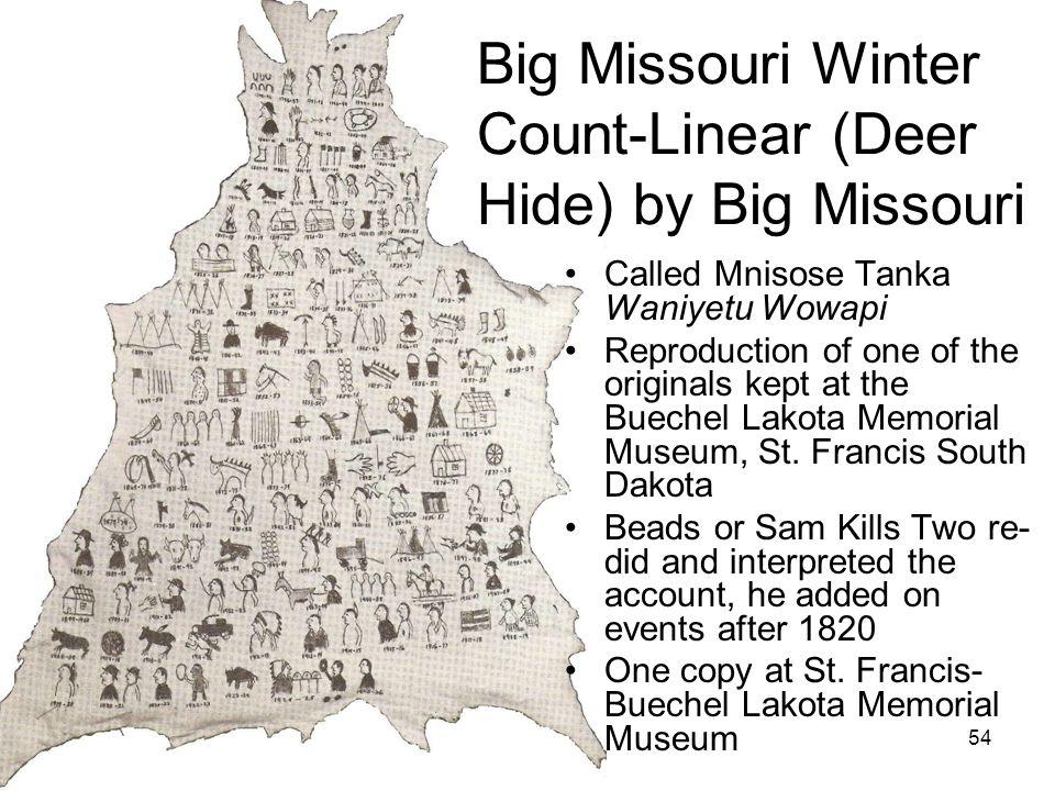 54 Image courtesy of St. Francis Mission Called Mnisose Tanka Waniyetu Wowapi Reproduction of one of the originals kept at the Buechel Lakota Memorial