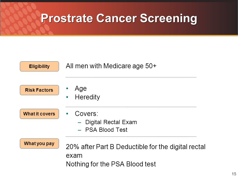 15 Prostrate Cancer Screening All men with Medicare age 50+ Age Heredity Covers: –Digital Rectal Exam –PSA Blood Test 20% after Part B Deductible for the digital rectal exam Nothing for the PSA Blood test Eligibility Risk Factors What it covers What you pay