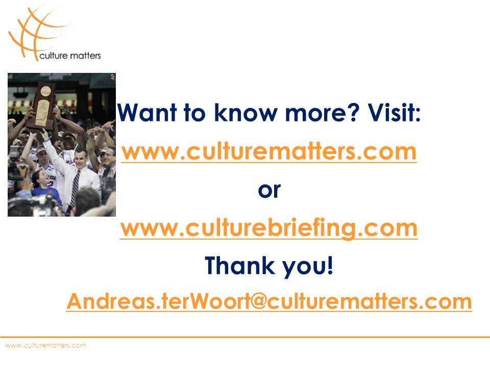 www.culturematters.com Want to know more.