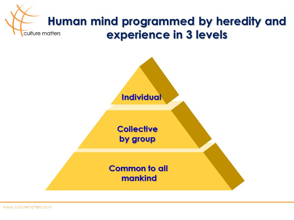 Common to all mankind Human mind programmed by heredity and experience in 3 levels Collective by group Individual