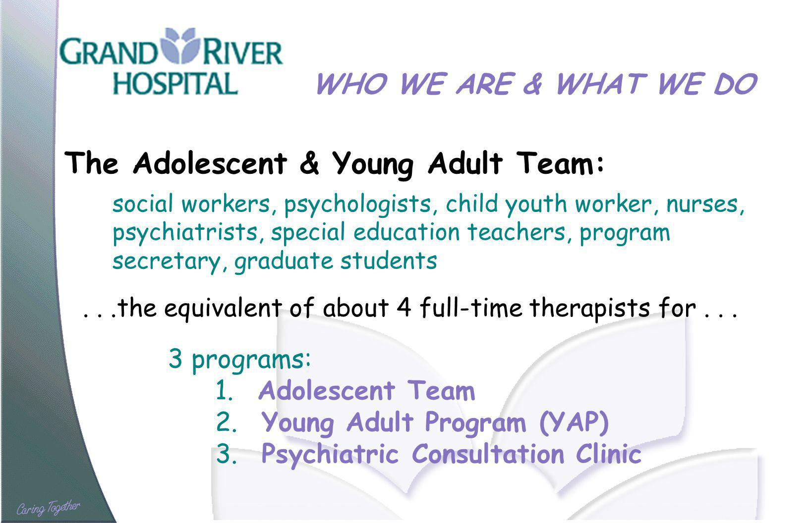 WHO WE ARE & WHAT WE DO The Adolescent & Young Adult Team: social workers, psychologists, child youth worker, nurses, psychiatrists, special education teachers, program secretary, graduate students...the equivalent of about 4 full-time therapists for...