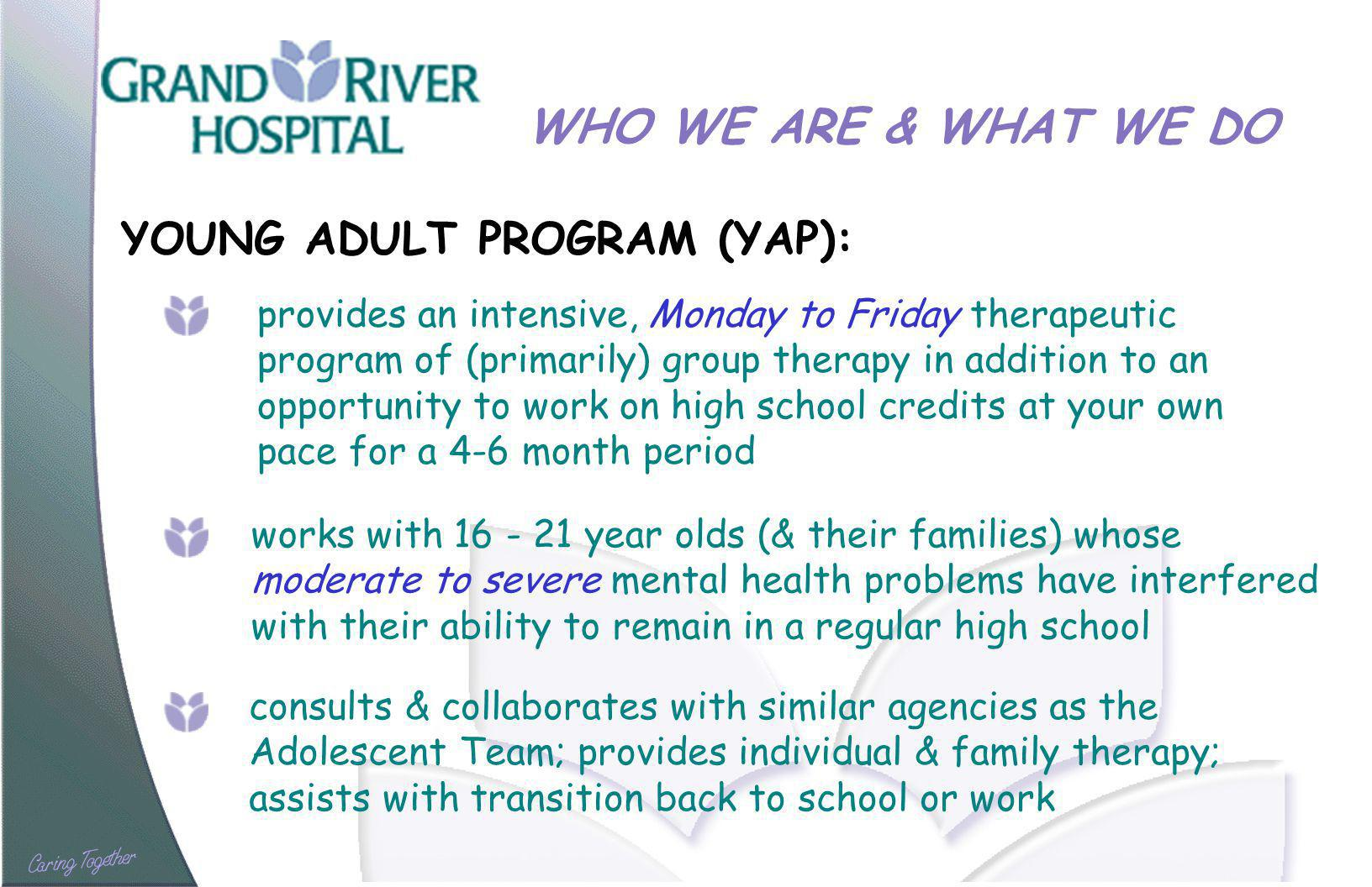 WHO WE ARE & WHAT WE DO YOUNG ADULT PROGRAM (YAP): provides an intensive, Monday to Friday therapeutic program of (primarily) group therapy in addition to an opportunity to work on high school credits at your own pace for a 4-6 month period works with year olds (& their families) whose moderate to severe mental health problems have interfered with their ability to remain in a regular high school consults & collaborates with similar agencies as the Adolescent Team; provides individual & family therapy; assists with transition back to school or work