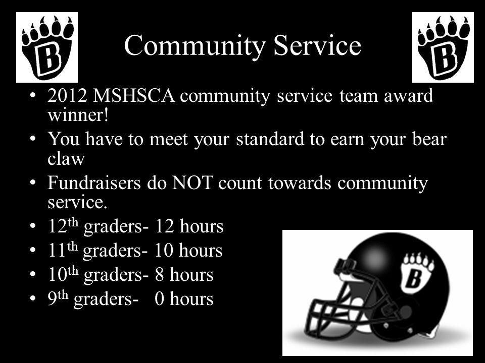 Community Service 2012 MSHSCA community service team award winner.