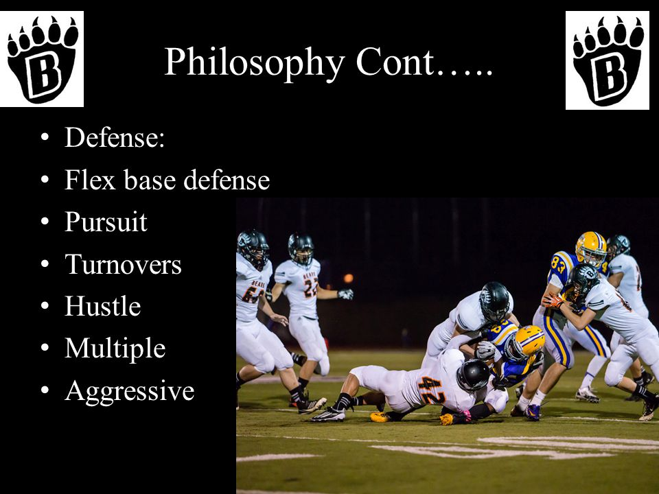 Philosophy Cont….. Defense: Flex base defense Pursuit Turnovers Hustle Multiple Aggressive