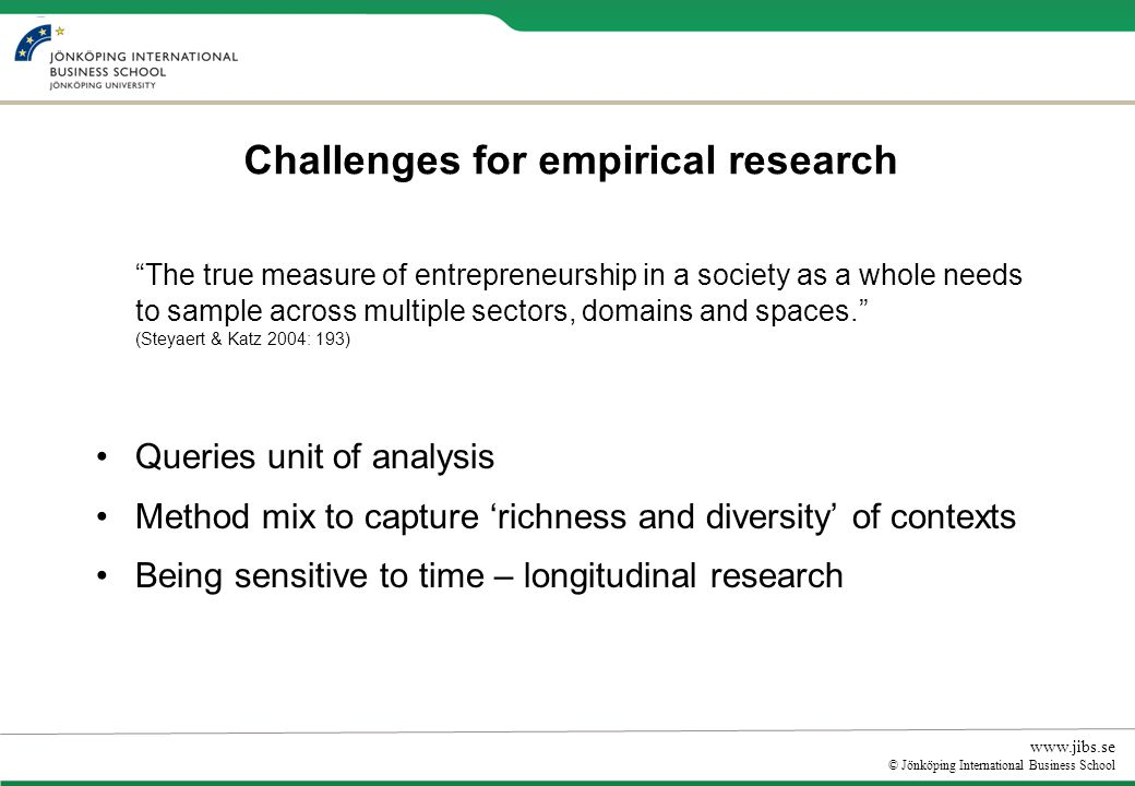 www.jibs.se © Jönköping International Business School Challenges for empirical research The true measure of entrepreneurship in a society as a whole needs to sample across multiple sectors, domains and spaces.