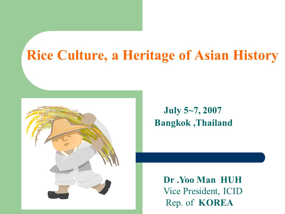 Rice Culture, a Heritage of Asian History July 5~7, 2007 Bangkok,Thailand Dr.Yoo Man HUH Vice President, ICID Rep.