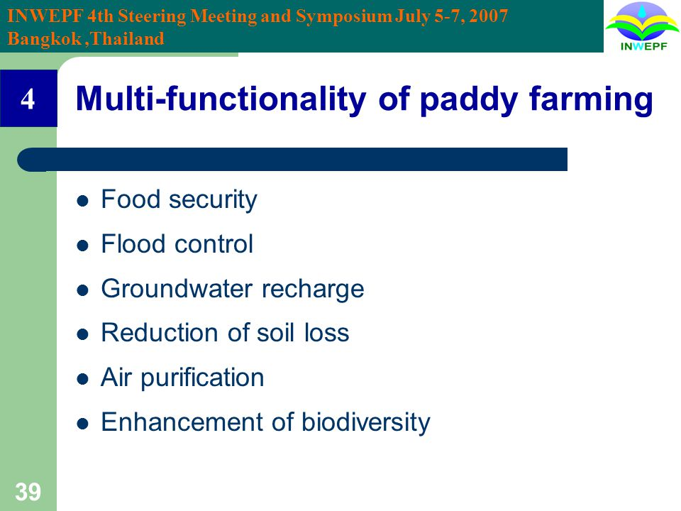 INWEPF 4th Steering Meeting and Symposium July 5-7, 2007 Bangkok,Thailand 39 Multi-functionality of paddy farming Food security Flood control Groundwa