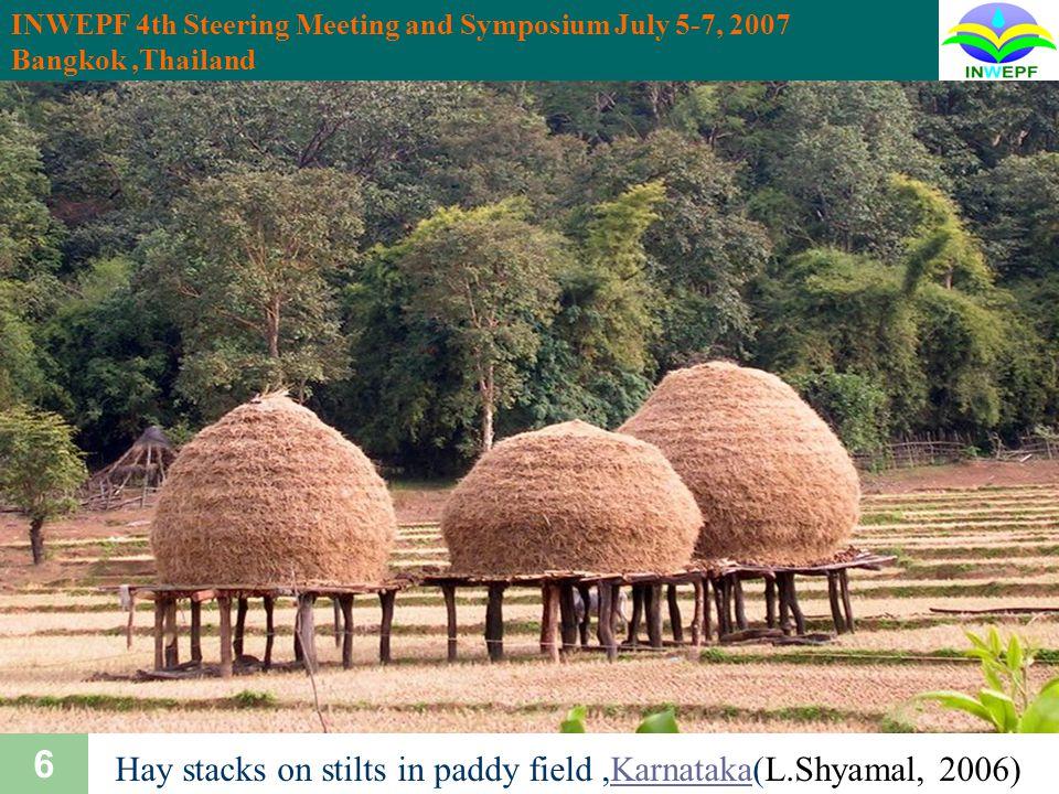 INWEPF 4th Steering Meeting and Symposium July 5-7, 2007 Bangkok,Thailand 17 Economic aspects of rice Rice production ChinaIndiaIndoBangJPUSAKr 50 100 150 200 Million ton 1 2 3 4 9 11.3 12 7.4 9.6 11 2