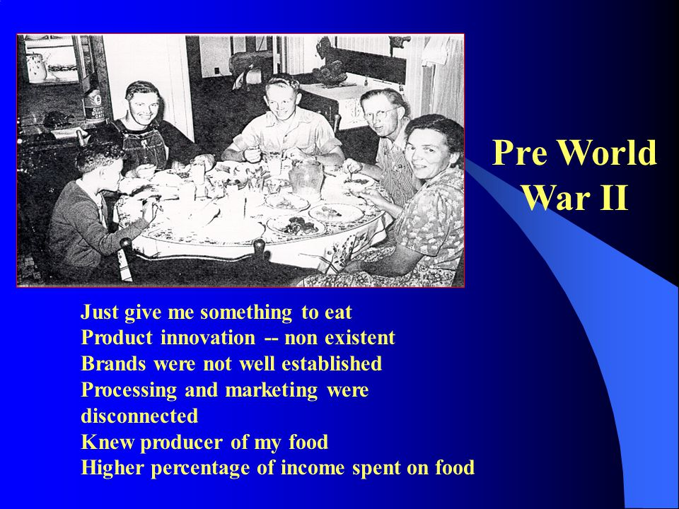 Pre World War II Just give me something to eat Product innovation -- non existent Brands were not well established Processing and marketing were disconnected Knew producer of my food Higher percentage of income spent on food