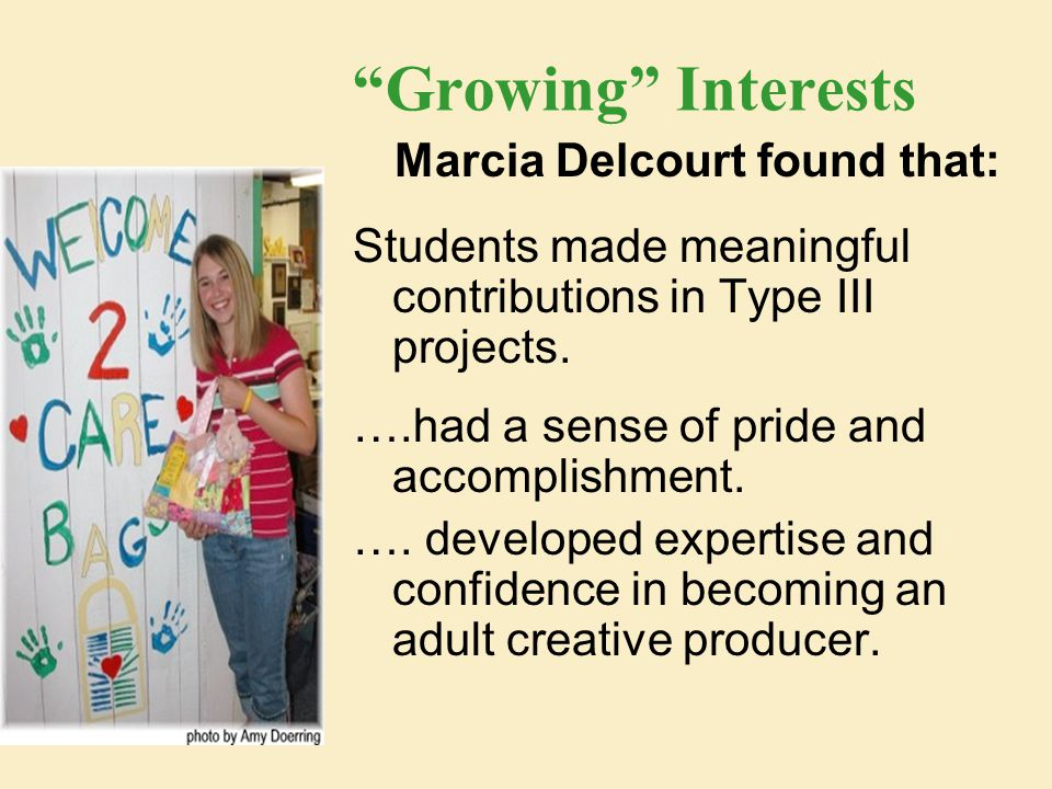Growing Interests Marcia Delcourt found that: Students made meaningful contributions in Type III projects.
