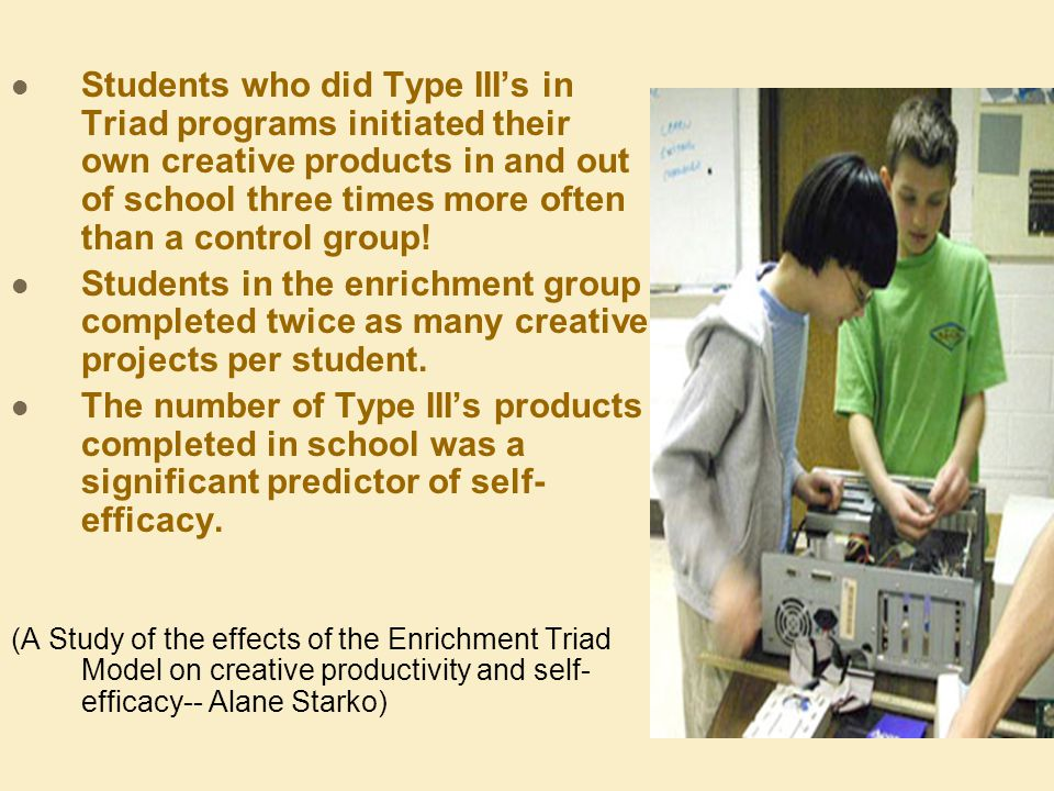 Students who did Type IIIs in Triad programs initiated their own creative products in and out of school three times more often than a control group.