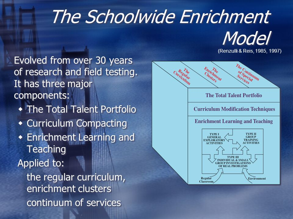 The Schoolwide Enrichment Model (Renzulli & Reis, 1985, 1997) Evolved from over 30 years of research and field testing.