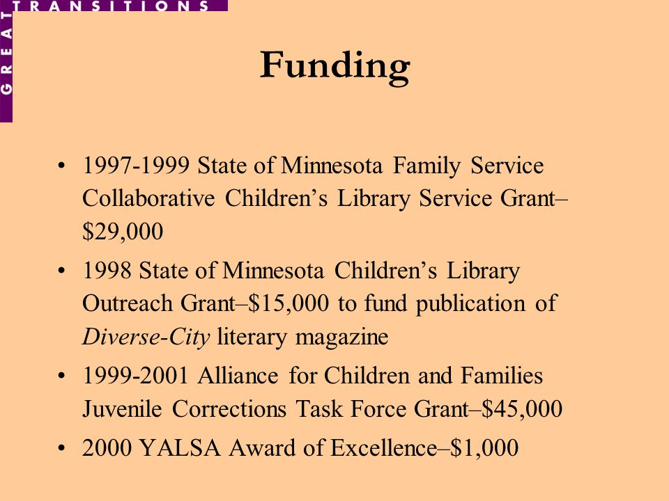 Funding 1997-1999 State of Minnesota Family Service Collaborative Childrens Library Service Grant– $29,000 1998 State of Minnesota Childrens Library Outreach Grant–$15,000 to fund publication of Diverse-City literary magazine 1999-2001 Alliance for Children and Families Juvenile Corrections Task Force Grant–$45,000 2000 YALSA Award of Excellence–$1,000