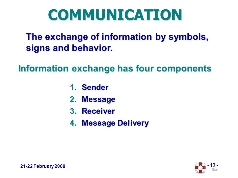 - 13 - 21-22 February 2008 The exchange of information by symbols, signs and behavior.