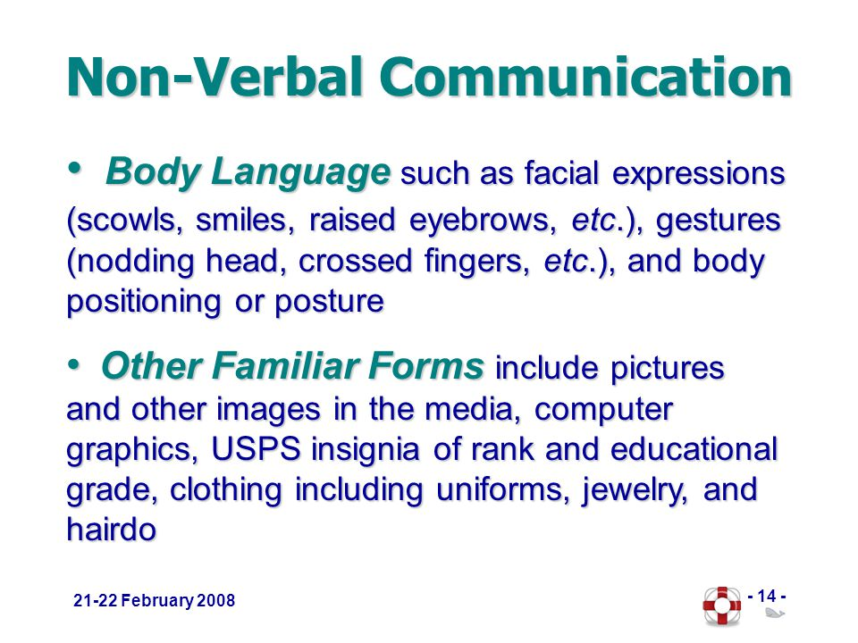 - 14 - 21-22 February 2008 Non-Verbal Communication Body Language such as facial expressions (scowls, smiles, raised eyebrows, etc.), gestures (nodding head, crossed fingers, etc.), and body positioning or posture Body Language such as facial expressions (scowls, smiles, raised eyebrows, etc.), gestures (nodding head, crossed fingers, etc.), and body positioning or posture Other Familiar Forms include pictures and other images in the media, computer graphics, USPS insignia of rank and educational grade, clothing including uniforms, jewelry, and hairdo Other Familiar Forms include pictures and other images in the media, computer graphics, USPS insignia of rank and educational grade, clothing including uniforms, jewelry, and hairdo
