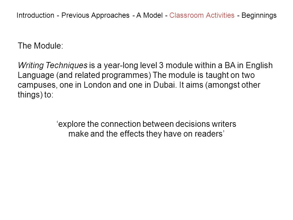 The Module: Writing Techniques is a year-long level 3 module within a BA in English Language (and related programmes) The module is taught on two campuses, one in London and one in Dubai.