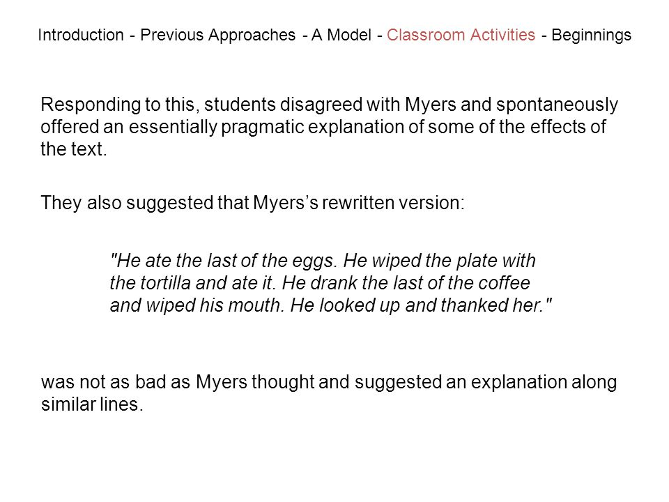 Responding to this, students disagreed with Myers and spontaneously offered an essentially pragmatic explanation of some of the effects of the text.