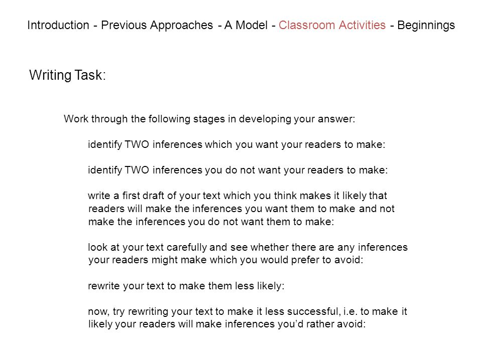 Writing Task: Introduction - Previous Approaches - A Model - Classroom Activities - Beginnings Work through the following stages in developing your answer: identify TWO inferences which you want your readers to make: identify TWO inferences you do not want your readers to make: write a first draft of your text which you think makes it likely that readers will make the inferences you want them to make and not make the inferences you do not want them to make: look at your text carefully and see whether there are any inferences your readers might make which you would prefer to avoid: rewrite your text to make them less likely: now, try rewriting your text to make it less successful, i.e.