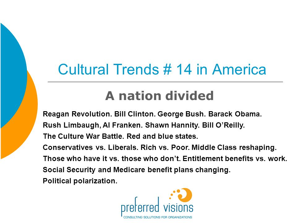 Cultural Trends # 14 in America A nation divided Reagan Revolution.