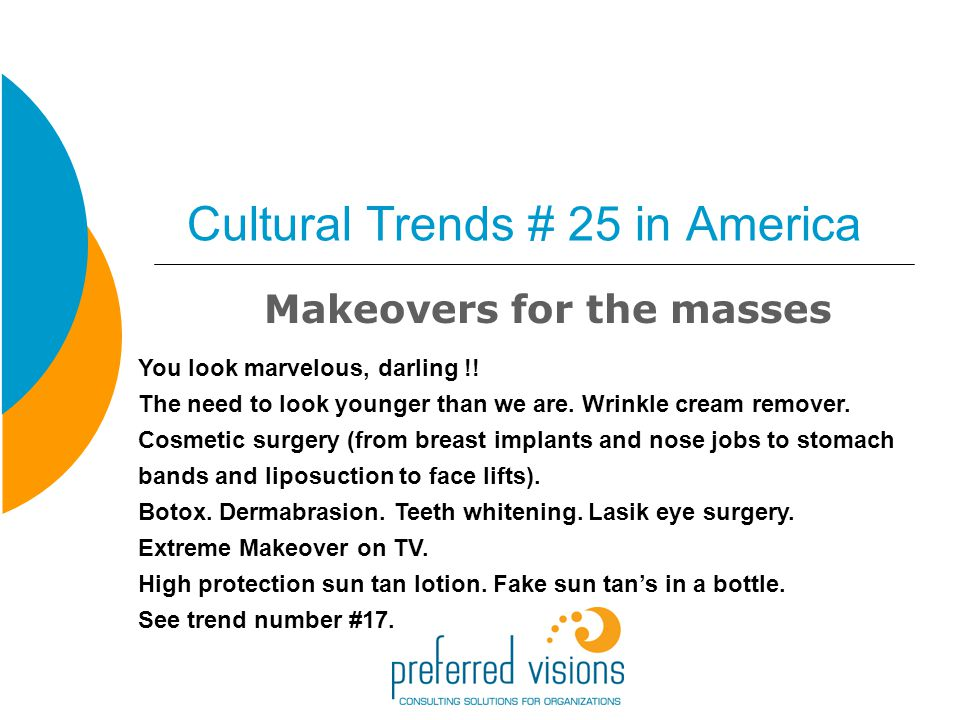 Cultural Trends # 25 in America Makeovers for the masses You look marvelous, darling !.